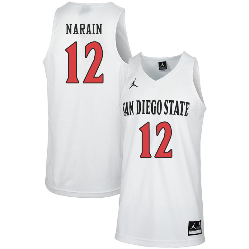 Jordan Brand Men #12 Nolan Narain San Diego State Aztecs College Basketball Jerseys Sale-White