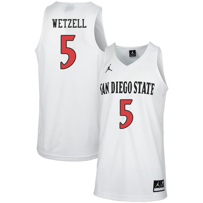 Jordan Brand Men #5 Yanni Wetzell San Diego State Aztecs College Basketball Jerseys Sale-White