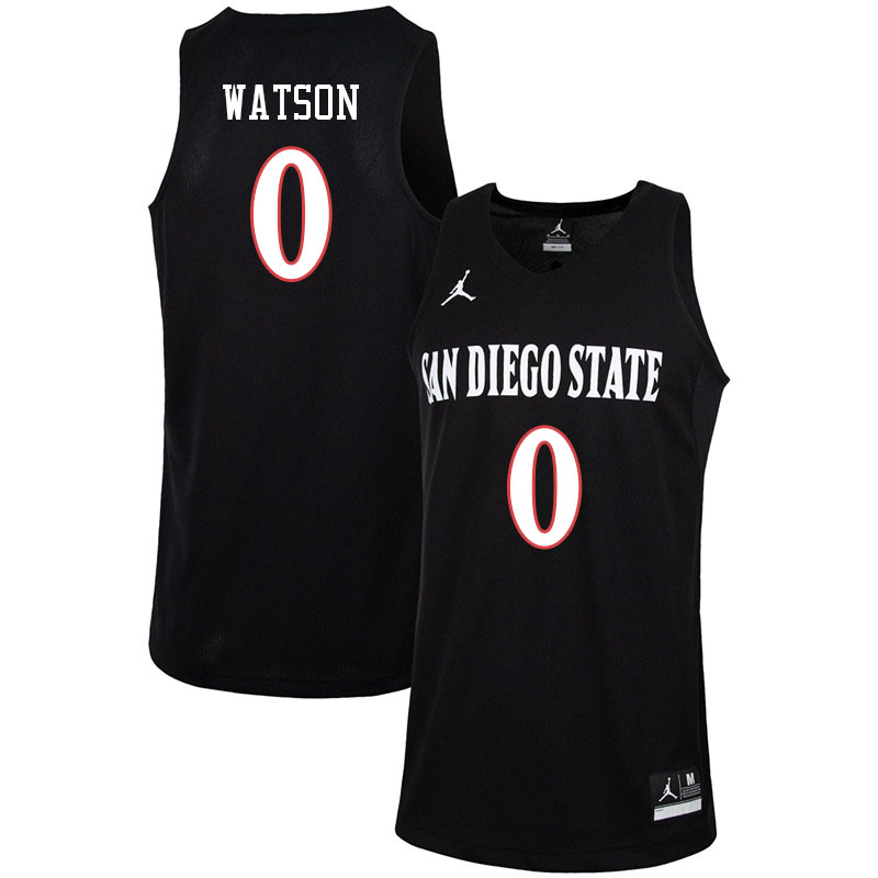 Jordan Brand Men #0 Devin Watson San Diego State Aztecs College Basketball Jerseys-Black