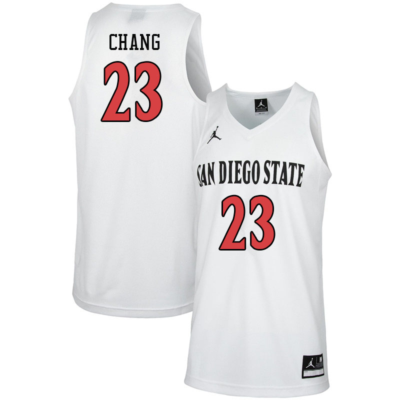 Jordan Brand Men #23 Ed Chang San Diego State Aztecs College Basketball Jerseys-White