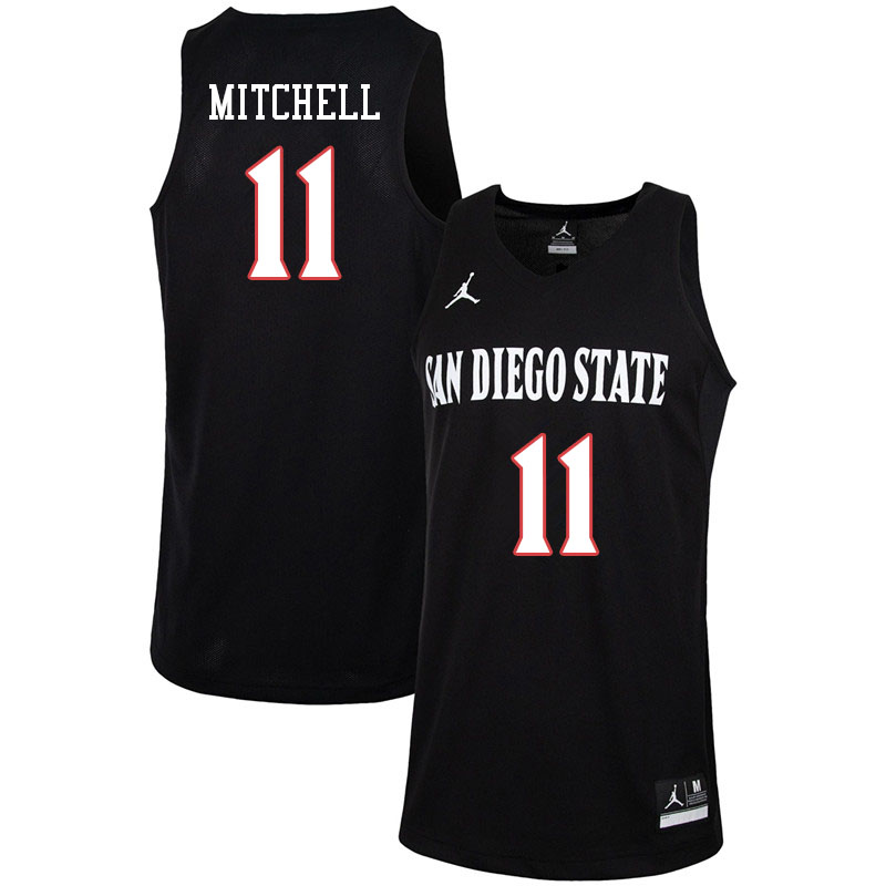 Jordan Brand Men #11 Matt Mitchell San Diego State Aztecs College Basketball Jerseys-Black