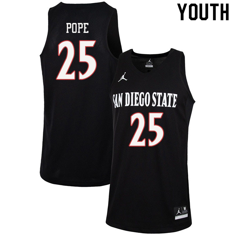 Jordan Brand Youth #25 Mike Pope San Diego State Aztecs College Basketball Jerseys Sale-Black