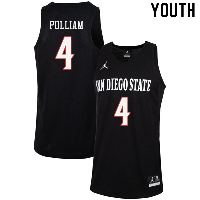Jordan Brand Youth #4 Trey Pulliam San Diego State Aztecs College Basketball Jerseys Sale-Black