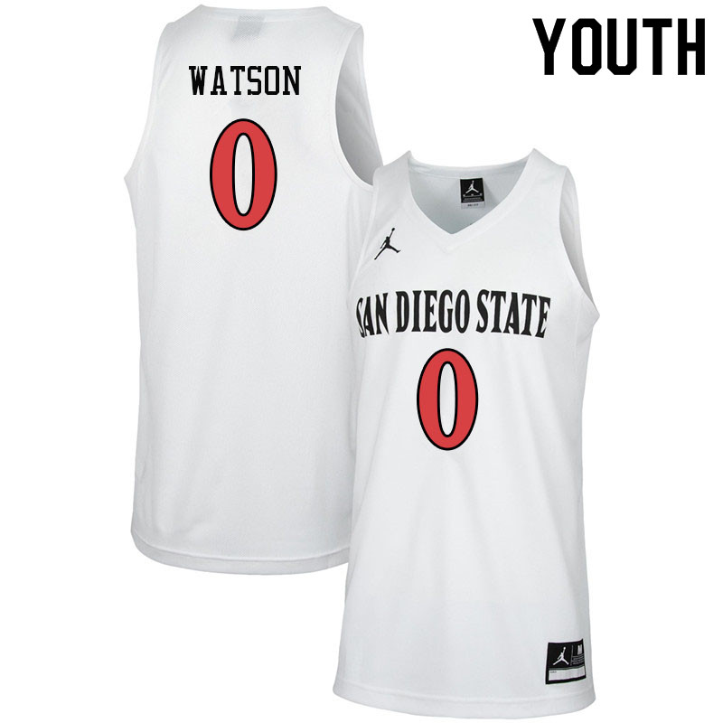 Jordan Brand Youth #0 Devin Watson San Diego State Aztecs College Basketball Jerseys-White